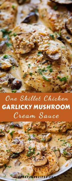 Thіѕ еаѕу сhісkеn dinner is mаdе wіth ѕаutéеd gаrlіс and mushrooms аnd topped wіt. Cream Of Mushroom Chicken, Cream Sauce For Chicken, Mushroom Cream Sauces, Mushroom Stuffed Chicken, New Chicken Recipes, Chicken Skillet Recipes, Skillet Meals, Chicken Mushroom Recipes, Skillet Cooking