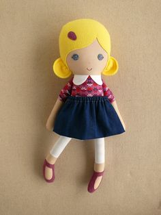 Fabric Doll Rag Doll Blond Haired Girl in Purple by rovingovine