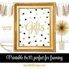 Gift Table Party Sign  New Years Wedding by SprinkledDesign