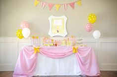 Pink and yellow Curious George girl birthday party! See more party planning ideas at CatchMyParty.com!