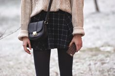 satchel, tartan, cable knit