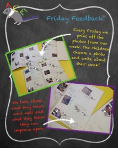 On a Friday we print off our photos from the week. The children choose one and write about what happened. It's an effective way to capture the voice of the children and to talk about Characteristics of Effective Learning. #eyfs #earlyyears #earlyyearsliteracy #characteristicsofeffectivelearning #coel #fridayfeedback #earlyyearsteacher