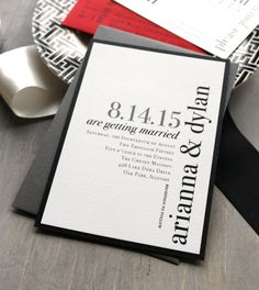Urban Elegance - Modern Wedding Invitations, Elegant, Black and White, City Chic, Urban, Red - Sample. $4.50, via Etsy.