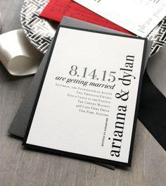 Urban Elegance - Modern Wedding Invitations, Elegant, Black and White, City Chic, Urban, Red  - Sample. $4.50, via Etsy.