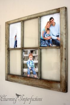 An old window makes the perfect centerpiece for any picture gallery.
