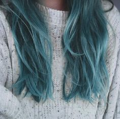 Turqoise, faded, seafoam green hair color - love!
