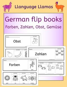 German Flip Books - Farben, Zahlen, Obst, Gemse. A fun way to practice German vocabulary for colors, numbers, fruit and vegetables. The students love coloring in and constructing the flip books themselves. This set comprises:* 2 Farben (color) flipbooks.