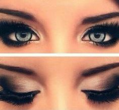 black, brown, and white eyeshadow for blue eyes