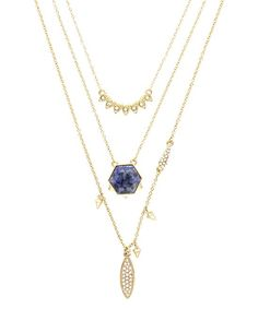 Gold & Blue Crystal Layered Necklace