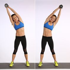 Love the Weighted Side Bends! Adding weight overhead seriously ups the ante on your abs.
