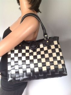 Bag Purse Checkers Woven Black Cream Designer Fashion Flower Hip Chic Summer  | eBay