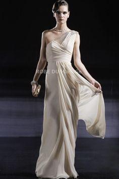 Robe épaule asymétrique décorée de perles longueur au sol en satin, chiffon et tulle [#ROBE202978] - robedumariage.com