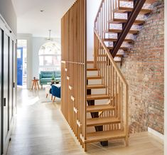 Narrow stair up/down. Don't like the design, but I have similar space contraints.