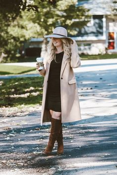 The Little Black Dress Floppy Hat Beige Coat - Motherhood Charm Beige Coat, Outfits With Hats, Raincoat, Lady, Boys, Jackets, Dresses, Fashion, Beige Trench Coat