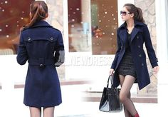 2014 New Fashion Women Wool Blend Belted Double Breasted Long Trench Coat Jacke