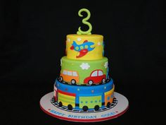 I want this cake! :) Cars, trains & airplane cake by cakesbyelisa 3rd Birthday Cakes, Cars Birthday Parties, Birthday Ideas, Third Birthday, Little Boy Cakes, Rodjendanske Torte, Transportation Birthday, Cute Cakes, Themed Birthday Parties