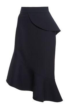 Navy Virgin Wool Ruffle Midi Skirt by Oscar de la Renta Now Available on Moda Operandi