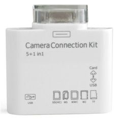 Camera Connection Kit with Card Reader for iPad / iPad 2 / iPhone / iTouch# List Price: US$5.11  Price:        * US$        € £ CA$ AU$ HK$ CHF ¥    2.99We all know the short comings of Apple products and Apples lack of user interfaces. This cool gadget will give you all the interfaces you need to connect your camera or memory devices with a simple plug and play design. It allows you to connect devices through USB or the built-in