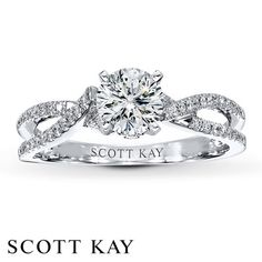Scott Kay Ring Setting 1/8 ct tw Diamonds 14K White Gold @Linda Reiser-Nichols Jewelers - Engagement Rings, Wedding Bands, Fine Jewelry  Swiss Watches  #timbanderson @Scott Doorley Kay.    Again would looooooove in a princess cut!