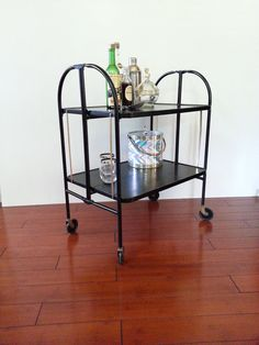 Mid Century Bar Cart Collapsible Folding Cart By LUCKYHOMEFINDS