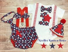 Boys 4th of July , Baby Boys 1st Birthday Out – Needles Knots n Bows 1st Birthday Outfit Boy, Baby Boy 1st Birthday, July Birthday, Boy Onesie, Onesies, Cake Smash Outfit Boy, Baby Bloomers, Babies First Year, Funny Babies