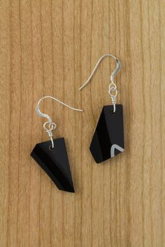 Onyx Series No.010 - RideWear. carbonfiber and sterling silver. drop earrings. . black. silver shimmer. geometric. minimalistic love. made by hand.