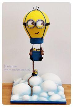 Minion-Balloon - Cake by Zuckerwelt MarianneD Anti Gravity Cake, Gravity Defying Cake, Chocolate Fondant Cake, Fondant Cakes, Fondant Bow, Fondant Flowers, Minion Torte, Minion Cakes, Minion Balloons