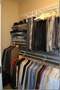Surprise Closet Organization for the Hubby (how to organize a man's closet easily and cheap)