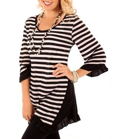Take a look at this Black & White Stripe Ruffle Tunic - Women on zulily today!