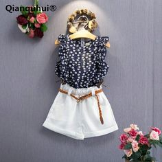 Qianquhui Summer Outfits Girls Clothes Toddler Kids Baby Clothes Floral Soft Sleevess T-shirt Tops + Short Pants Outfits #Affiliate
