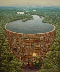 By Jacek Yerka  - The world inside the books