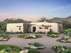 11 best Adobe House Plans images on Pinterest   House floor plans     057H 0012  Adobe House Plan Features Courtyard Entry and Covered Porch