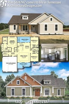 Skylight Discover Architectural Designs Modern Farmhouse Plan client-built in reverse orientation in Tennessee. House Plans One Story, New House Plans, Dream House Plans, Modern House Plans, Small House Plans, House Floor Plans, Story House, Basement House Plans, 4 Bedroom House Plans