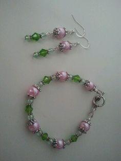 Pink & Green beaded jewelry