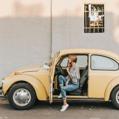 Vw beetle Volkswagen combi summer spring fashion style denim jeans hairstyle