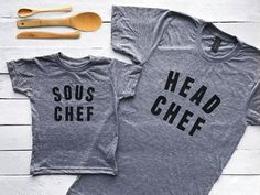 Head Chef & Sous Matching Parent Child Shirts Graphic Tees