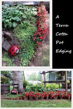 Organized Clutter:  A terra cotta pot garden edging.