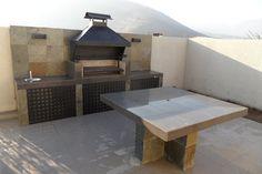 PERGOLAS Y QUINCHOS: quinchos Rooftop Design, Terrace Design, Patio Design, Exterior Design, Backyard Kitchen, Outdoor Kitchen Design, Backyard Patio, Backyard Landscaping, Rooftop Lighting