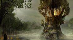 goth fantasy art | ... Arcania Artwork Digital Art Fantasy Art forests Gothic 4 Arcania Trees