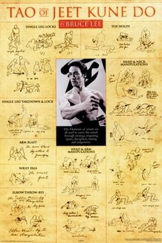 This Bruce Lee - Tao of Jeet Kune Do Poster is an exceptional value and is ready for your Walls.  This Poster ships Rolled in an oversized protective tube for maximum protection.  Laminating or Custom Black Wood Framing is also available for this Poster and may be selected when choosing your Size before adding this item to your cart. Kung Fu, Self Defense Moves, Self Defense Martial Arts, Martial Arts Techniques, Self Defense Techniques, Martial Arts Workout, Martial Arts Training, Bruce Lee Martial Arts, Mixed Martial Arts