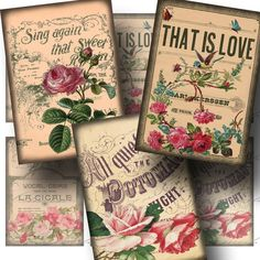 INSTANT Download  Vintage Roses on Sheet by CharmedMemoryCollage, $3.50