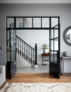 Crittall-style has been staging a comeback – and not just as windows and doors, but as walls, rear extensions, room dividers and even shower screens. Crittal Doors, Crittall Windows, Flur Design, Hallway Designs, Hallway Ideas, Room Doors, Windows And Doors, Iron Windows, Home Renovation