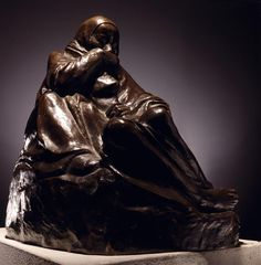 Pietà (Woman Holding Her Dead Child), bronze, by Käthe Kollwitz. This is a smaller version of the sculpture installed in Neue Wache in Berlin following German reunification. The Neue Wache is a neo classical guard house and since 1993 a national memorial to the victims of war and tyranny. it is a huge empty space with the sculpture alone in the center. High above it is an oculus allowing rain and snow to fall on the pietà.
