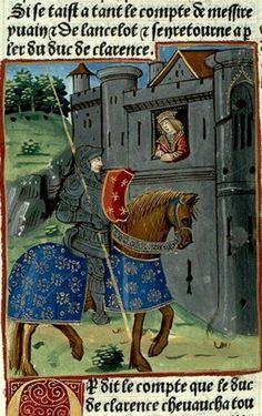 NOTES ENLUMINURE Rubrique : 'Comment le duc de clarence arriva en la blanche tour ou il trouva une sienne cousine qui lui dist que cellui qui avoit emporte messire gauvain estoir karados de la douloureuse tour'. Galescin, duc de Clarence (pays de Galles) est accueilli par le valet de sa cousine, fille de Segondes seigneur de la Blanche Tour. TITRE OUVRAGE: Lancelot en prose (partie du)  DATATION: c. XV.