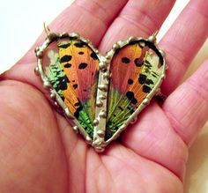 Madagascan Sunset Moth Heart Shaped Pendant, Real Butterfly Jewelry via Etsy