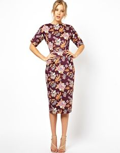 Autumn floral midi dress
