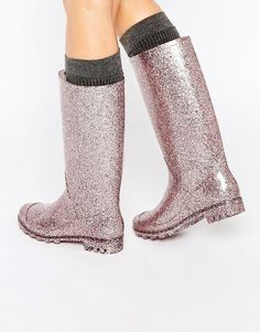 Image 1 of ASOS GROOVY Glitter Wellies                                                                                                                                                                                 More