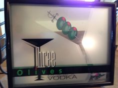 Three Olives Vodka Mirror Bar Sign by Heritatge Sign&Display 3D Bar Picture RARE #ThreeOlivesVodka #barsigns #bardecor