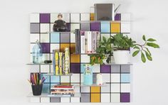 OBJECTS:   Confetti Shelf by Pellington Design is a modular tiled panel  | You can mix and match colours, move shelves around and when you fancy a change: take it all down and start all over again. |  Pellington Confetti @pellingtondesig | #designbest #magazine #interiordesign #homedecor