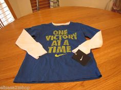 Boy's Nike long sleeve t shirt youth 6 ONE VICTORY AT A TIME smack talk blue